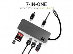 Dokovací stanice, adaptér, adaptér HUB USB-C HDMI Green Cell - 7 portů pro MacBook Pro, Dell XPS, Lenovo X1 Carbon a další