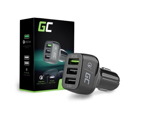 3 USB auto nabíječka s rychlým nabíjením Green Cell