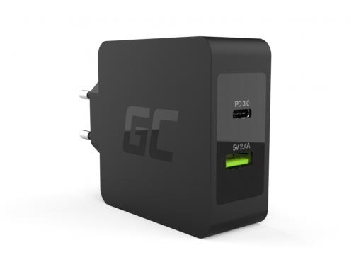 Green Cell 45W USB-C PD Ladegerät mit USB-C Kabel und zusätzlichem USB-Anschluss