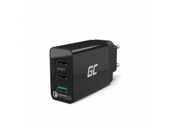 Univerzální nabíječka Green Cell s funkcí rychlého nabíjení 3 porty USB, QC 3.0