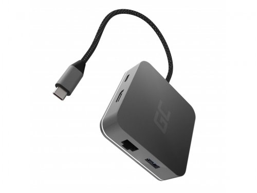 Dockingstation, Adapter, Green Cell GC HUB2 USB-C 6 im 1 (USB 3.0 HDMI Ethernet USB-C) für Apple MacBook, Dell XPS und andere