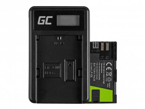Green Cell ® Akku LP-E6 und Ladegerät LC-E6 für Canon EOS 70D, 5D Mark II/ III, 80D, 7D Mark II, 60D, 6D, 7D 7.4V 1600mAh