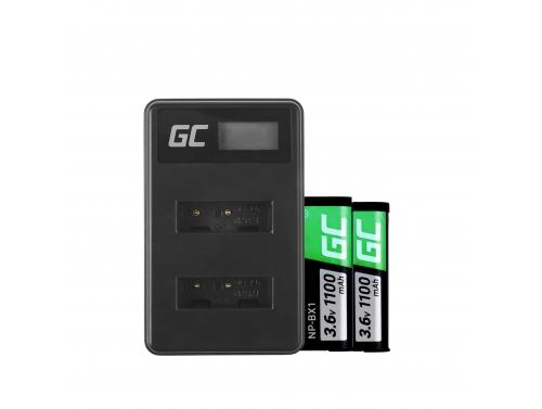 Green Cell ® 2x Akku NP-BX1 und Ladegerät BC-TRX für Sony Action Cam HDR-AS10 HDR-AS20 HDR-AS300 HDR-AS50 FDR-X1000V
