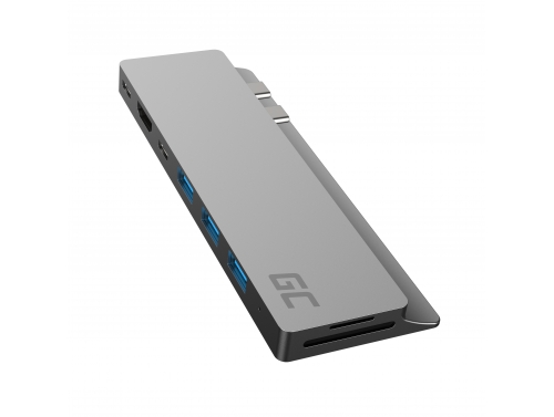 Green Cell HUB GC Connect60 8v1 (Thunderbolt 3, USB-C, HDMI, 3x USB 3.0, SD, microSD) pro MacBook Pro 13 / 15 2016 - 2020