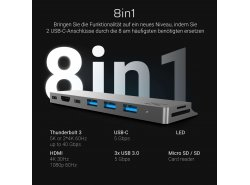 Adapter Green Cell HUB Connect60 8in1 (Thunderbolt 3, USB-C, HDMI, 3x USB 3.0) für Apple MacBook Air 2018, Pro 2016 und neuer