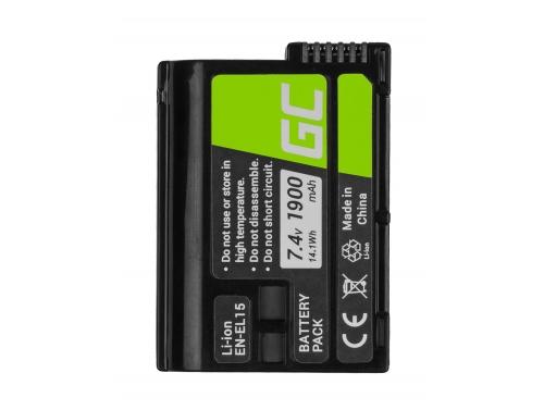 Green Cell ® EN-EL15 EN-EL15A ENEL15 Kamera-Akku für Nikon D600 D750 D800 D810 D810A D7000 D7100 D7200 D7500 (1900mAh 7.4V)
