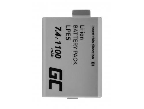 Green Cell ® LP-E5 LPE5 Kamera-Akku für Canon EOS 450D 500D 1000D Kiss F X2 X3 Rebel XS Xsi Full Decoded (Li-Ion 1100mAh 7.4V)