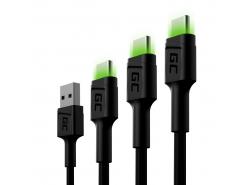 Sada 3x kabel Green Cell GC Ray USB-C 30cm, 120cm, 200cm se zeleným LED podsvícením, rychlé nabíjení Ultra Charge, QC 3.0