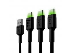 Sada 3x kabel Green Cell GC Ray USB-C 200cm se zeleným LED podsvícením, rychlé nabíjení Ultra Charge, QC 3.0