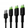 Set 3x Green Cell GC Ray USB kabel - USB -C 200cm, zelená LED, rychlé nabíjení Ultra Charge, QC 3.0