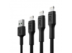 Sada 3x Green Cell GC Ray USB kabel - Lightning 30cm, 120cm, 200cm pro iPhone, iPad, iPod, bílá LED, rychlé nabíjení