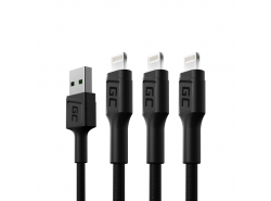 Sada 3x Green Cell GC Ray USB kabel - Lightning 120cm pro iPhone, iPad, iPod, bílá LED, rychlé nabíjení