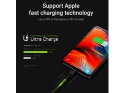 Set 3x Green Cell GC Ray Lightning-Kabel 30 cm, 120 cm, 200 cm mit weiß LED-Hintergrundbeleuchtung, Schnellladung Apple 2.4A
