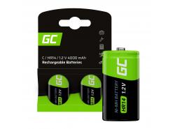 Batterie Akku 2x C R14 HR14 Ni-MH 1,2 V 4000 mAh Green Cell