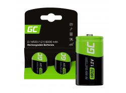 Baterie 2x D R20 HR20 Ni-MH 1,2V 8000mAh Green Cell