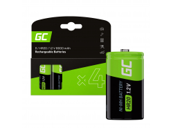 Batterie Akku 4x D R20 HR20 Ni-MH 1,2 V 8000 mAh Green Cell