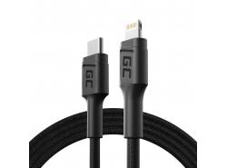 Green Cell Stream USB-C - Lightning kabel 100cm s podporou dodávky Pover (certifikováno Apple MFi)