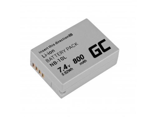 Green Cell ® NB-10L Kamera-Akku für Canon PowerShot G1 X G3 X SX40 HS SX50 HS SX60 HS G15 G16, Full Decoded, (800mAh 7.4V)