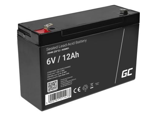 Green Cell® AGM 6V 12Ah Akku VRLA Blei-Batterie Spielzeug Elektro Spielzeug Alarm Kinderfahrzeuge