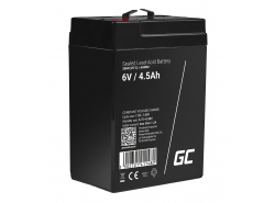 Green Cell® Gelová baterie AGM akumulátorová baterie 6V 4.5Ah VRLA bezúdržbová pro hračky a poplašné systémy