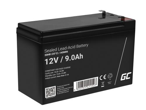 Green Cell® AGM 12V 9Ah Akku VRLA Blei-Batterie Unbemann UPS USV-Anlage UPS-Anlage Backup-Batterie