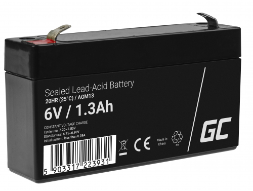 Green Cell® AGM 6V 1.3Ah Akku VRLA Blei-Batterie Spielzeug Elektro Spielzeug Alarm Kinderfahrzeuge