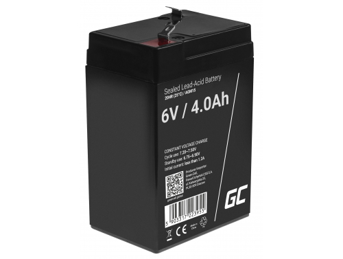 Green Cell® AGM 6V 4Ah Akku VRLA Blei-Batterie Spielzeug Elektro Spielzeug Alarm Kinderfahrzeuge