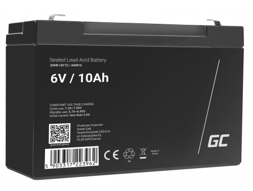 Green Cell® AGM 6V 10Ah Akku VRLA Blei-Batterie Spielzeug Elektro Spielzeug Alarm Kinderfahrzeuge