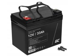 AGM GEL Batterie 12V 33Ah Blei Akku Green Cell Wartungsfreie für Motorroller und Fischerboote
