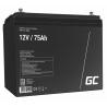 Green Cell® AGM 12V 75Ah Akku VRLA Blei-Batterie Unbemann Caravan Photovoltaik Rollstuhl Solarbatterie