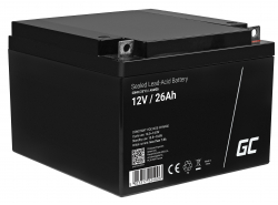 Green Cell® AGM 12V 26Ah Akku VRLA Blei-Batterie Unbemann Fischkutter Boot Scooter Rasentraktor Rasenmäher