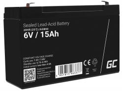 AGM GEL Batterie 6V 15Ah Blei Akku Green Cell Wartungsfreie für Alarm und Beleuchtung