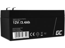 AGM GEL Batterie 12V 3.4Ah Blei Akku Green Cell Wartungsfreie für Kasse und Zähler