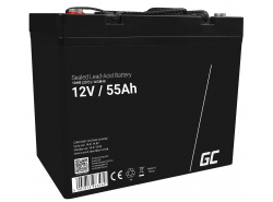 Green Cell® AGM 12V 55Ah Akku VRLA Blei-Batterie Unbemann Fischkutter Boot Scooter Rasentraktor Rasenmäher