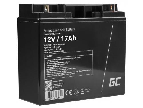 Green Cell® Gelová baterie AGM 12V 17Ah akumulátorová baterie koloběžka loď sekačka na trávu