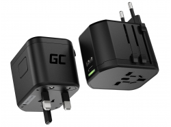 Green Cell GC TripCharge PRO Universaladapter zur Steckdose mit USB-A UC und USB-C PD 18WPorts