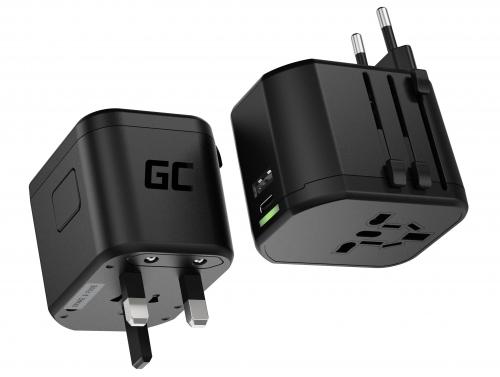 Green Cell GC TripCharge PRO Reiseadapter mit USB-A Ultra Charge und USB-C PD 18W Ports Universal Reisestecker zur Steckdose