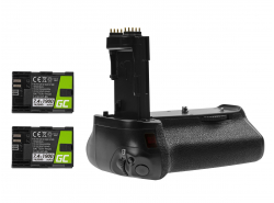 Akkugriff Green Cell BG-E14H + 2x Batterie LP-E6 LP-E6N 1900mAh 7.4V für die Canon EOS 70D 80D Kamera