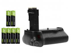 Akkugriff Green Cell BG-E14H + 6x AA Batterie 2600mAh 1.2V für die Canon EOS 70D 80D Kamera
