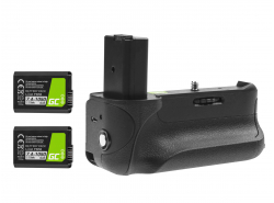 Akkugriff Green Cell VG-A6300RC + 2x Akku NP-FW50 1050mAh 7.4V für die Sony A6000 A6300 Kamera