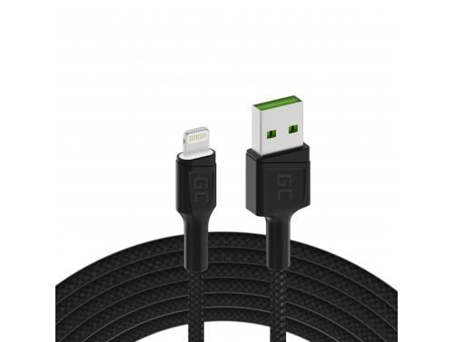 Green Cell GC Ray USB - Lightning 120cm kabel pro iPhone, iPad, iPod, bílá LED, rychlé nabíjení