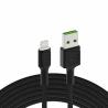 Kabel Green Cell Ray USB-A - Lightning Weiß LED 120cm mit Unterstützung für Apple 2.4A-Schnellladung