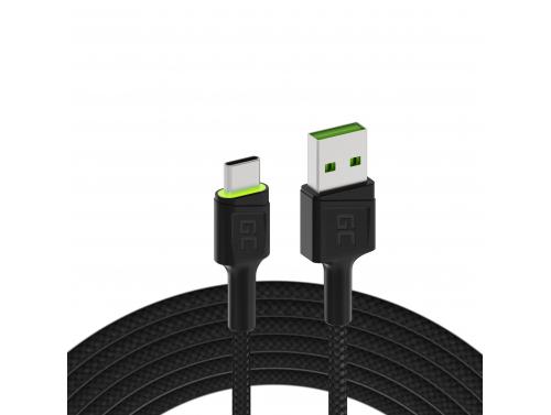USB kabel Green Cell GC Ray - USB -C 120 cm, zelená LED, rychlé nabíjení ultra Charge, QC 3.0