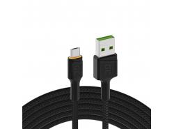 Kabel Green Cell Ray USB-A - microUSB oranžová LED 200cm s podporou rychlého nabíjení Ultra Charge QC3.0