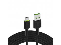 Kabel Green Cell Ray USB-A - USB-C Zelená LED 200cm s podporou rychlého nabíjení Ultra Charge QC 3.0