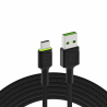 Green Cell GC Ray USB-Kabel - USB-C 200cm, grüne LED, Ultra Charge Schnellladung, QC 3.0